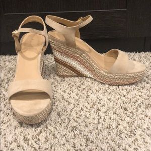 Anthropologie Suede Nude Metallic Wedge Sandals